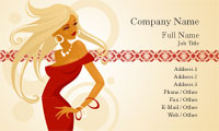 Lady in the Red Dress Business Card Template